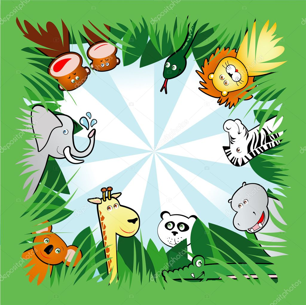 Vector background with funny animals in the forest — Stock Vector #5910079