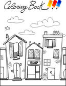 Coloring book for children, street — Stock Vector