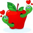 Worms in love, vector - Stock Photo