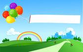 Balloons dragging a banner — Stock Photo