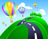 Balloons on hilly road — Stock Photo
