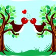 Vector de stock : Birds kissing