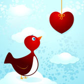 Bird in love — Stock Vector
