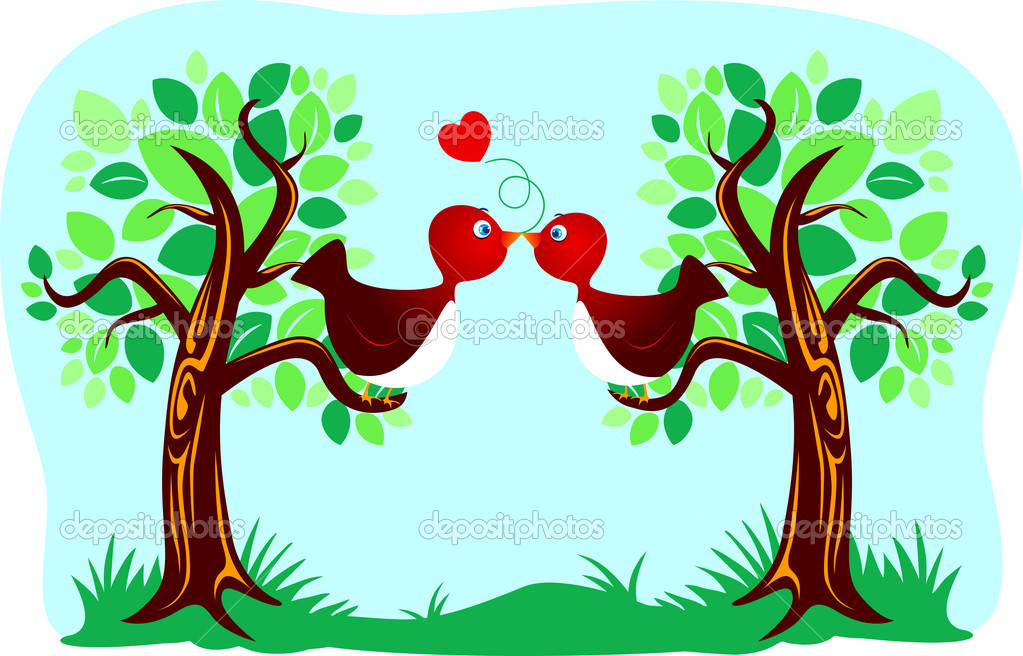 Two cute birds kissing, vector  — Stock Vector #6040598