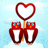 Two cute owls with sign — Stock Vector