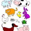 Funny farm animals - Stock Vector