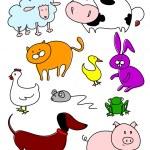 Funny farm animals — Stock Vector