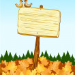 Sign with autumn background — Stock Vector #6210866