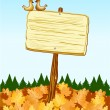 Sign with autumn background — Stock Vector