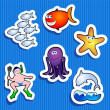 Sea stickers — Stock Vector