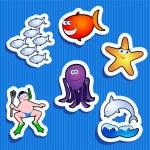 Sea stickers — Stock Vector