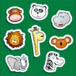 Jungle animal stickers — Stock Vector