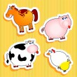 Farm animal stickers — Vettoriali Stock
