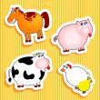 Farm animal stickers — Stockvectorbeeld