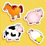 Farm animal stickers — Stock Vector