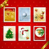Cachet de la poste et les timbres de noël — Vecteur