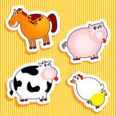 Farm animal stickers — Vettoriale Stock