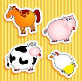 Pegatinas de animales de granja — Vector de stock