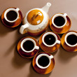 Still life of coffee cups and coffeepot - Stock Photo