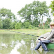 Fishing woman — Stock Photo