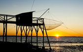 Pier with fishing net during sunrise, Gironde Department, Aquita — Stock Photo