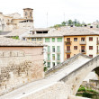 Stock Photo: SMiguel church with bridge Puente de lCarcel, Estella, Road