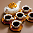 Still life of coffee cups and coffeepot — Stock Photo #5980543