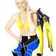Portrait of young woman wearing neoprene with diving equipment — Stock Photo