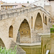 Stock Photo: Romanesque bridge over river Arga, Puente LReina, Road to Sant
