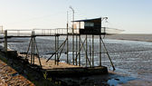 Pier with fishing net, Gironde Department, Aquitaine, France — Stock Photo