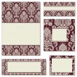 Vector Red Ornate Frame Set - Stock Vector