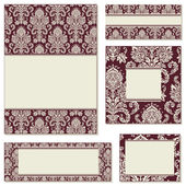 Vector Red Ornate Frame Set — Stock Vector