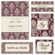 Vector Burgundy Damask Frame Set — Stock Vector