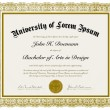 Vector Ornate Diploma with Border - Stock Vector