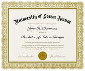 Diploma recargado de vector con la frontera — Vector de stock