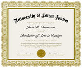 Vector Ornate Diploma with Border — Vettoriale Stock