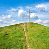 Cross on hill — Stock Photo