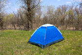 Blue tourists tent — Photo