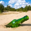 Stock Photo: Green glass bottle in sands