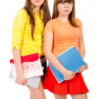 Two schoolgirls teenagers with notebooks — Stock Photo