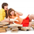 Two schoolgirls were tired of reading books — Stock Photo #5417483