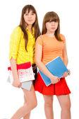 Adolescenti di due studentesse con notebook — Foto Stock