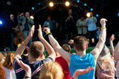 Crowd of fans at a concert — Stock Photo