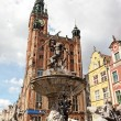 Neptune's Fountain in Gdansk, Poland - Stock Photo