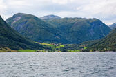 Village among the mountains of Sognefjord, Norway — Stock Photo
