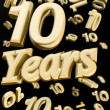 Golden 10 years anniversary — Stock Photo