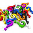 Multicolor question-marks connecting - Stock Photo