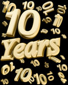 Golden 10 years anniversary — Stockfoto