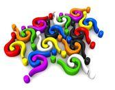 Interrogantes multicolores de conexión — Foto de Stock