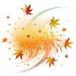 Swirl of autumn leaves — Stock Vector
